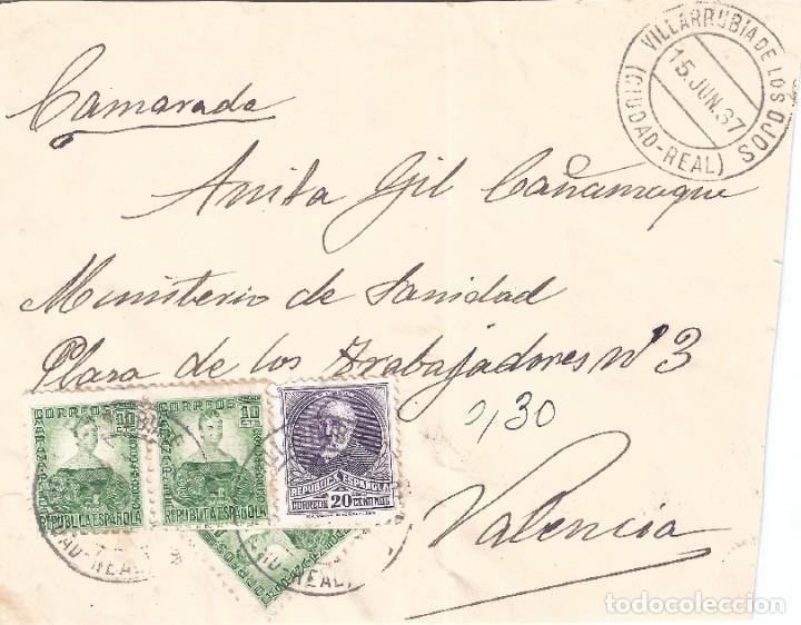 VILLARRUBIA DE LOS OJOS. FRONTAL SOBRE DIRIGIDO EL 15-06-1937 A VALENCIA. UN SELLO BISECTADO. (Sellos - España - II República de 1.931 a 1.939 - Cartas)