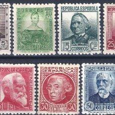 Sellos: EDIFIL 681-688 PERSONAJES 1933-1935 (SERIE COMPLETA) (VARIEDAD..686 SIN PIE DE IMPRENTA). MNH **. Lote 191861173