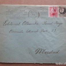 Timbres: CIRCULADA 1932 DE LERIDA LLEIDA A MADRID CON MATASELLO ACEITE DE OLIVA. Lote 191872923