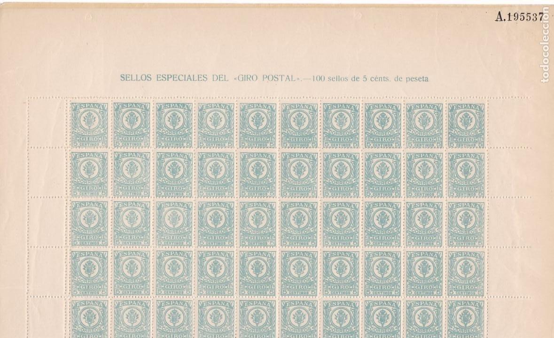 GP27- FISCALES POSTALES GIRO POSTAL HOJA COMPLETA 100 SELLOS**. VARIEDAD (Sellos - España - II República de 1.931 a 1.939 - Nuevos)