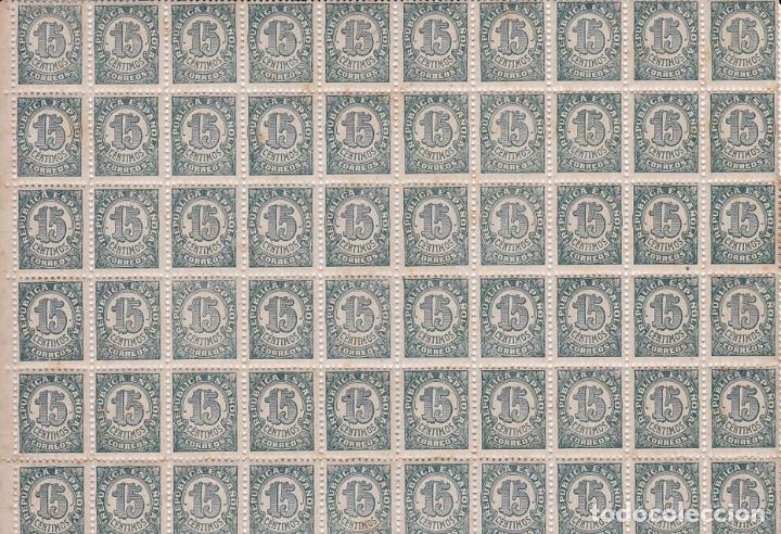 GP44 CIFRA REPÚBLICA 15 CTS BLOQUE 100 SELLOS ** SIN FIJASELLOS. (Sellos - España - II República de 1.931 a 1.939 - Nuevos)
