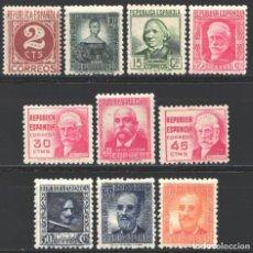 Sellos: ESPAÑA,1936-1938 EDIFIL Nº 731 / 740 /**/, CIFRAS Y PERSONAJES, SIN FIJASELLOS. Lote 191936008