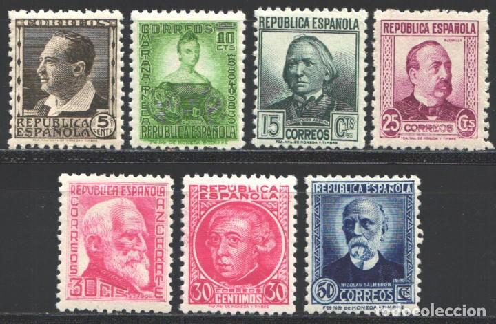 ESPAÑA,1933 - 1935 EDIFIL Nº 681 / 688 /**/, CIFRAS Y PERSONAJES, SIN FIJASELLOS (Sellos - España - II República de 1.931 a 1.939 - Nuevos)