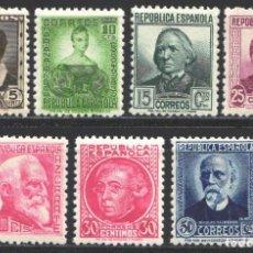 Sellos: ESPAÑA,1933 - 1935 EDIFIL Nº 681 / 688 /**/, CIFRAS Y PERSONAJES, SIN FIJASELLOS. Lote 191938133