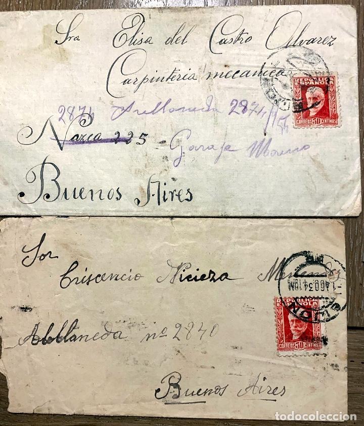 2 CARTAS. GIJON-BUENOS AIRES. 1934 Y 1932? (Sellos - España - II República de 1.931 a 1.939 - Cartas)
