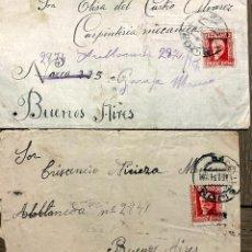 Sellos: 2 CARTAS. GIJON-BUENOS AIRES. 1934 Y 1932?. Lote 192082192