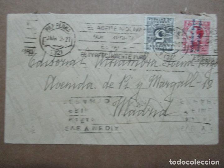 CIRCULADA 1932 DE PAMPLONA NAVARRA A MADRID CON MATASELLO ACEITE DE OLIVA (Sellos - España - II República de 1.931 a 1.939 - Cartas)