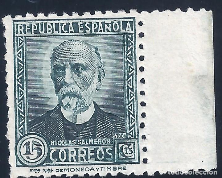 Sellos: EDIFIL 657 NICOLÁS SALMERÓN. 1932 (VARIEDAD...CALCADO EN EL REVERSO). NO CATALOGADO. LUJO. MH * - Foto 2 - 192348746