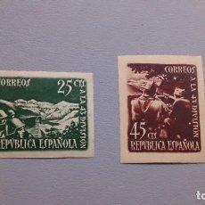 Sellos: ESPAÑA - 1938 - II REPUBLICA - EDIFIL 787/788 S - SIN DENTAR - LUJO - MH* - NUEVOS - MARQUILLA ROIG. Lote 193245908
