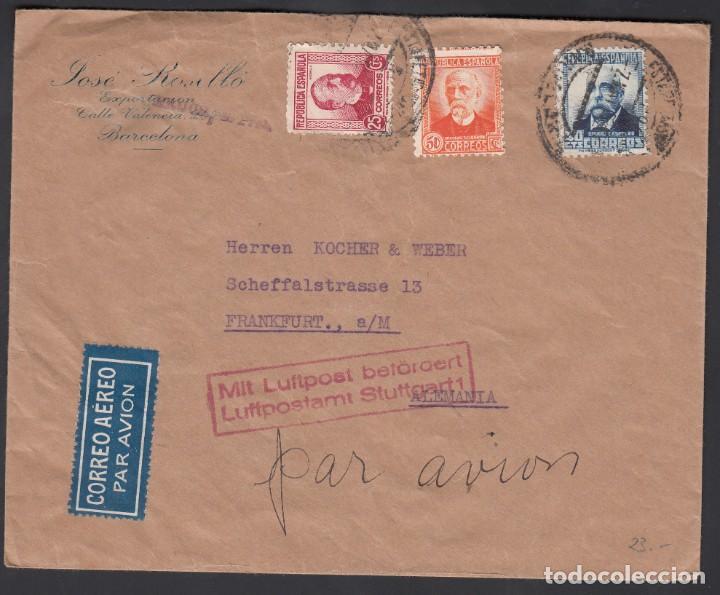SOBRE, BARCELONA A ALEMANIA, CORREO AÉREO POR AVIÓN (Sellos - España - II República de 1.931 a 1.939 - Cartas)