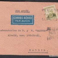 Sellos: FRONTAL, LAS PALMAS A MADRID, POR VÍA AÉREA. LAS PALMAS, . Lote 193743878