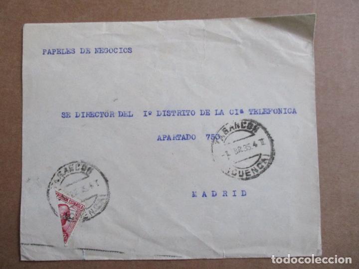 CIRCULADA 1935 DE TARANCON CUENCA A MADRID CON SELLO BISECTADO (Sellos - España - II República de 1.931 a 1.939 - Cartas)