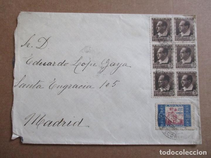 CIRCULADA 1934 DE EL ESCORIAL A MADRID CON SELLO HUERFANOS DE CORREOS (Sellos - España - II República de 1.931 a 1.939 - Cartas)