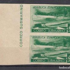 Sellos: 1938 EDIFIL 776CCDS**/* NUEVO CON Y SIN CHARNELA. PAREJA. SIN DENTAR. CORREO SUBMARINO (1219-1). Lote 194152007