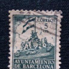 Sellos: ESPAÑA, AYUNTAMIENTO DE BARCELONA 5 CTS, AÑO 1940. Lote 194229493