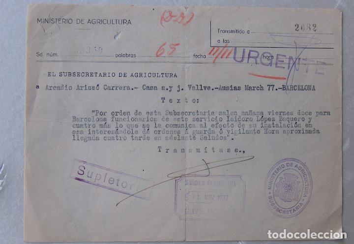 TELEGRAMA DEL SUBSECRETARIO DE AGRICULTURA II REPÚBLICA, COMUNICA SALIDA DE FUNCIONARIOS A BARCELONA (Sellos - España - II República de 1.931 a 1.939 - Cartas)