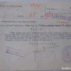 Sellos: TELEGRAMA DEL SUBSECRETARIO DE AGRICULTURA II REPÚBLICA, COMUNICA SALIDA DE FUNCIONARIOS A BARCELONA. Lote 194540757