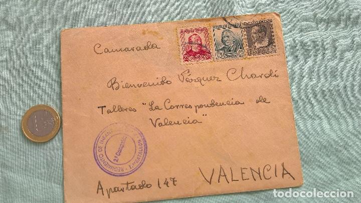 FRENTE DE TERUEL..2 COMPAÑIA..REGIMIETO INFANTERIA N.9..SOBRE..CARTA REPUBLICA, SOLDADO REPUBLICANO (Sellos - España - II República de 1.931 a 1.939 - Cartas)