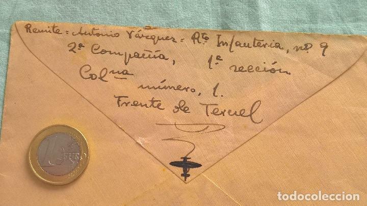 Sellos: Frente de Teruel..2 compañia..Regimieto Infanteria N.9..sobre..Carta Republica, Soldado Republicano - Foto 3 - 194639651