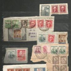 Sellos: ESPAÑA.PEQUEÑO LOTE DE 32 SELLOS CON FECHADORES SOBRE FRAGMENTO. Lote 194688120