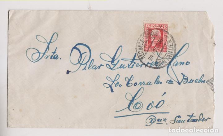 SOBRE. 1933. ALCANCE NORTE. SANTANDER, CANTABRIA. A LOS CORRALES (Sellos - España - II República de 1.931 a 1.939 - Cartas)