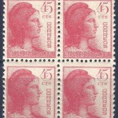 Timbres: EDIFIL 752 ALEGORÍA DE LA REPÚBLICA 1938 (BLOQUE DE 4). MNH**. Lote 213160910