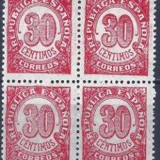 Sellos: EDIFIL 750 CIFRAS 1938 (BLOQUE DE 4). MNH **. Lote 194999935