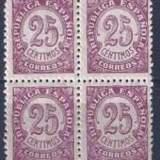 Sellos: EDIFIL 749 CIFRAS 1938 (BLOQUE DE 4). MNH **. Lote 194999993