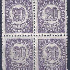 Sellos: EDIFIL 748 CIFRAS 1938 (BLOQUE DE 4). MNH **. Lote 195000066