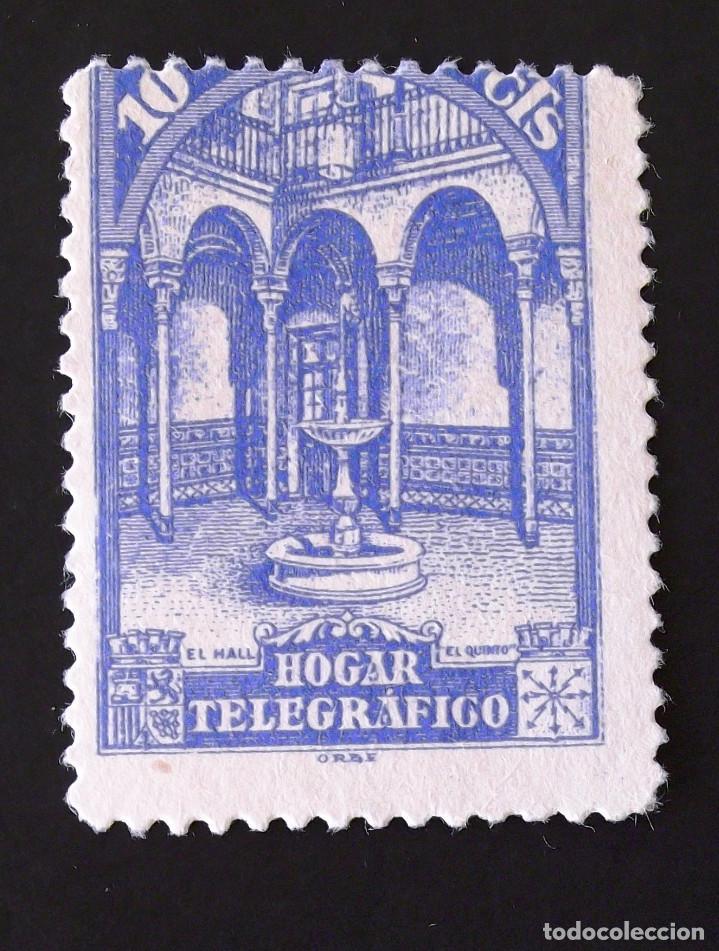 HUÉRFANOS TELÉGRAFOS EDIFIL 10DA, SELLO USADO, SIN MATASELLAR, COLOR AZUL, DENTADO 11,5. HOGAR. (Sellos - España - II República de 1.931 a 1.939 - Usados)