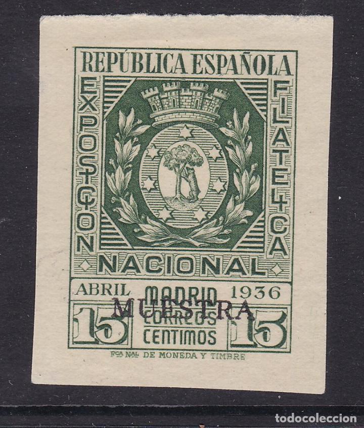 BB4- EXPO FILATÉLICA MADRID 1936 EDIFIL 728 VARIEDAD MUESTRA . SIN GOMA (Sellos - España - II República de 1.931 a 1.939 - Nuevos)