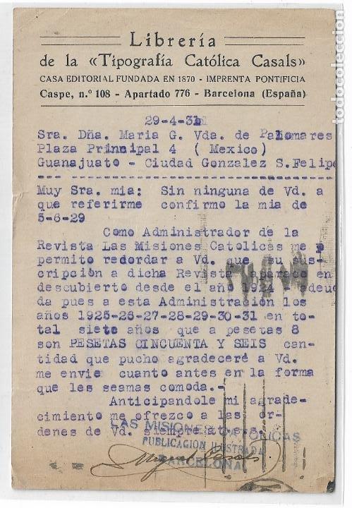 Sellos: BARCELONA - TIPOGRAFÍA CATÓLICA CASALS - LIBRERÍA CASA EDITORIAL - P30062 - Foto 2 - 195214581