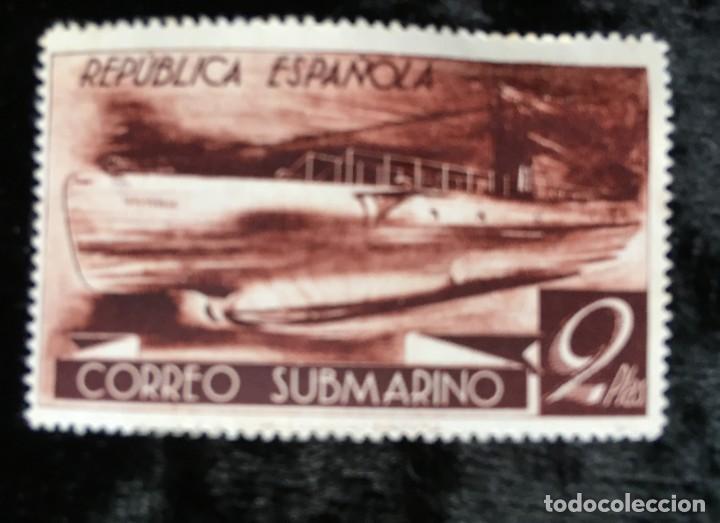 SELLO - REPÚBLICA ESPAÑOLA - CORREO SUBMARINO - 2 PESETAS (Sellos - España - II República de 1.931 a 1.939 - Nuevos)