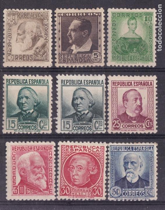 LL6- REPUBLICA PERSONAJES EDIFIL 680/ 88 * NUEVOS LIGERA SEÑAL FIJASELLOS (Sellos - España - II República de 1.931 a 1.939 - Nuevos)