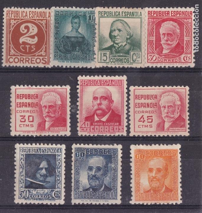 LL6- REPUBLICA PERSONAJES EDIFIL 731/40 * NUEVOS LIGERA SEÑAL FIJASELLOS (Sellos - España - II República de 1.931 a 1.939 - Nuevos)