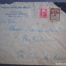 Sellos: SOBRE REPÚBLICA ESPAÑOLA BARCELONA A EL VILLAR DE ARNEDO LA RIOJA FRANQUEO AYUNTAMIENTO BARCELONA. Lote 195529686
