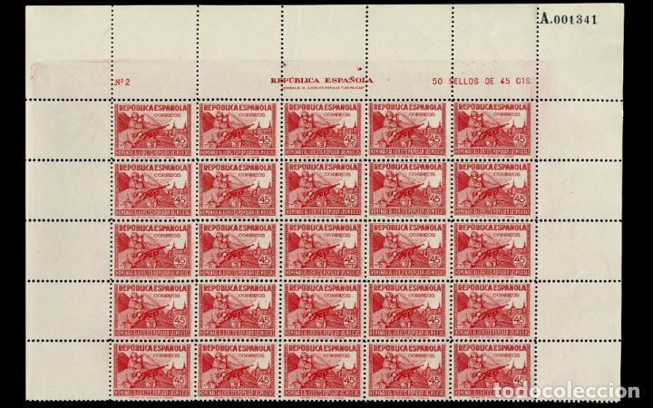 ESPAÑA - 1938 - II REPUBLICA - EDIFIL 795 - PLIEGO 25 SELLOS - MH** - NUEVOS - VALOR CATALOGO 250€ (Sellos - España - II República de 1.931 a 1.939 - Nuevos)