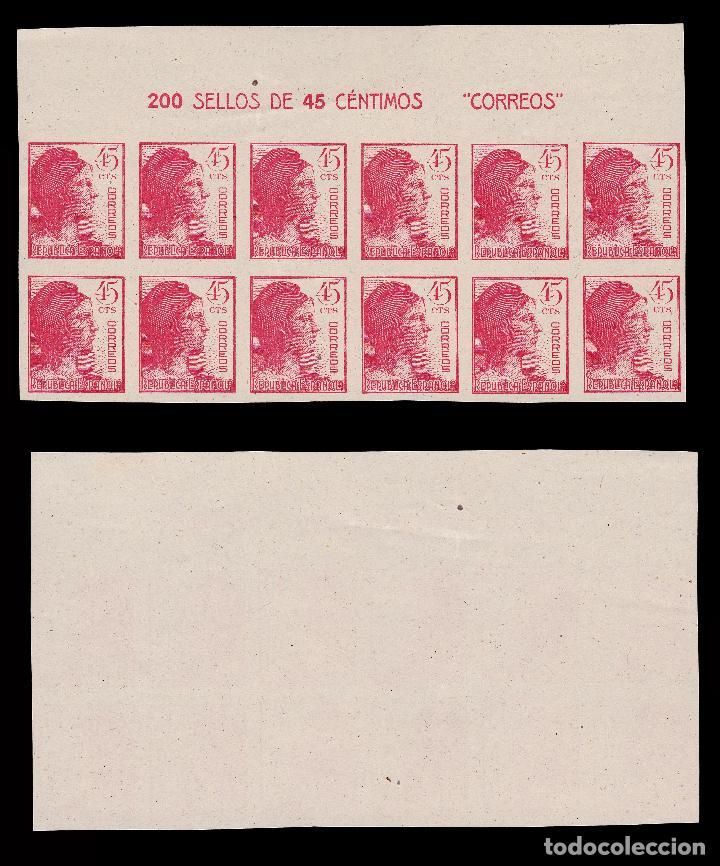 Sellos: 1938.Alegoría.Blq 12.SD. MNH.Edifil 751-753. - Foto 3 - 196445293
