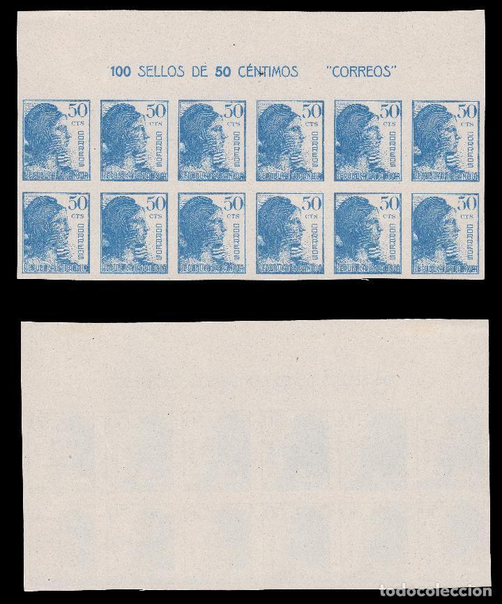 Sellos: 1938.Alegoría.Blq 12.SD. MNH.Edifil 751-753. - Foto 4 - 196445293