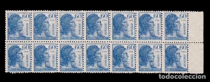 Sellos: 1938.Alegoría República.60c.Blq 14.MNH.Edifil.754 - Foto 2 - 196595520