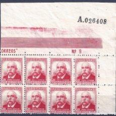 Sellos: EDIFIL 736 PABLO IGLESIAS 1937 (BLOQUE DE 8 CON BORDE HOJA NUMERADA). VALOR CATÁLOGO: 41 €. MNH **. Lote 198100288