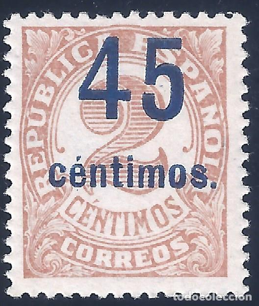EDIFIL 743 CIFRAS 1938. HABILITADO CON NUEVO VALOR. CENTRADO DE LUJO. VALOR CATÁLOGO: 39 €. MNH ** (Sellos - España - II República de 1.931 a 1.939 - Nuevos)