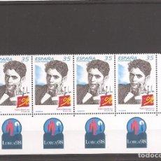 Sellos: SELLOS DE ESPAÑA AÑO 1998 CENTENARIO GARCÍA LORCA , TIRA DE 4 SELLOS NUEVOS** . Lote 198731257