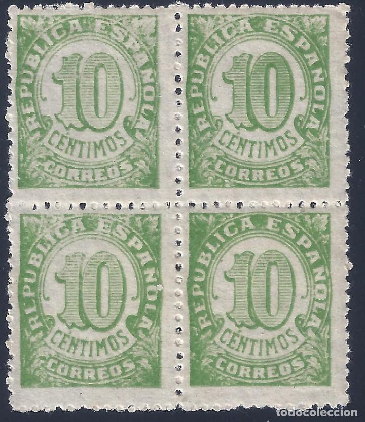 EDIFIL 746 CIFRAS 1938 (BLOQUE DE 4) (VARIEDAD...DIFIERE IMPRESIÓN). MNH ** (Sellos - España - II República de 1.931 a 1.939 - Nuevos)