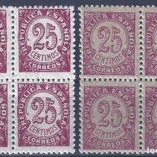 Sellos: EDIFIL 749 CIFRAS 1938 ( 2 BLOQUES DE 4) (VARIEDAD...COLOR). MNH **. Lote 198763311