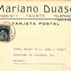 Sellos: TARJETA POSTAL: 1934 TAUSTE ( MARIANO DUASO ) - BILBAO. Lote 198898958