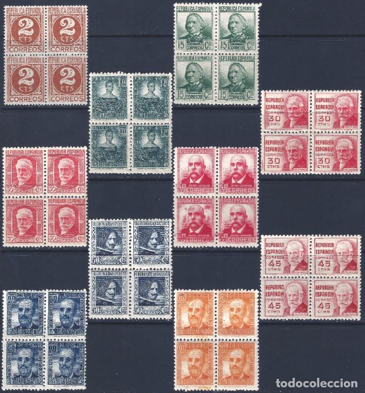 EDIFIL 731-740 CIFRA Y PERSONAJES 1936-1938 (BLOQUES DE 4). CENTRADO DE LUJO. V.C. : 252 €. MNH ** (Sellos - España - II República de 1.931 a 1.939 - Nuevos)