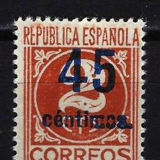 Sellos: 1938 ESPAÑA CIFRAS SOBRECARGADOS 45 CÉNTIMOS - EDIFIL 744 MNG* NUEVO SIN GOMA SIN FIJASELLOS. Lote 199399320