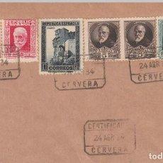 Sellos: FRAGMENTO DE CARTA 1934 CON MATASELLOS CERTIFICADO DE CERVERA -LLEIDA-. Lote 199645346