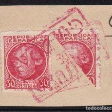 Sellos: BISECTADO SELLO NUM. 687 CON MATASELLOS ROJO DE CENSURA DE GUERRA . Lote 199654543